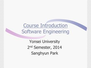 Course Introduction Software Engineering