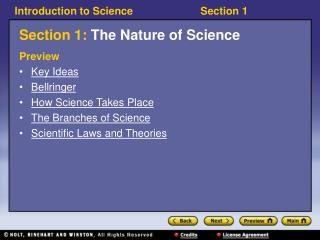 Section 1:  The Nature of Science