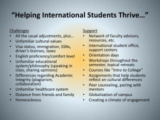 """Helping International Students Thrive…"""