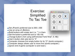 Exercise: Simplified Tic Tac Toe