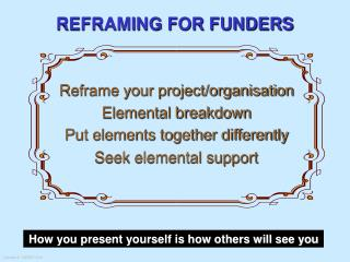 REFRAMING FOR FUNDERS