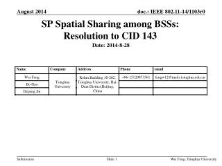 SP Spatial Sharing among BSSs:  Resolution to CID 143