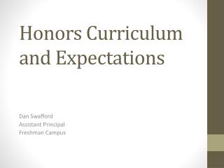 Honors Curriculum  and Expectations