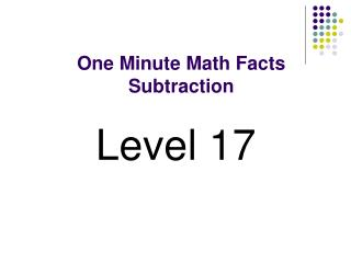 One Minute Math Facts Subtraction
