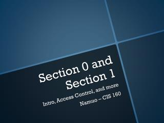 Section 0 and Section 1
