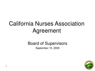 California Nurses Association Agreement