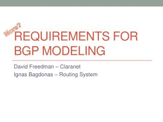 Requirements for BGP modeling