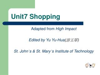 Unit7 Shopping