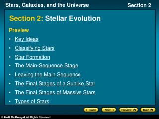 Section 2:  Stellar Evolution