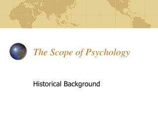 The Scope of Psychology