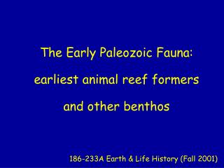 The Early Paleozoic Fauna: earliest animal reef formers and other benthos