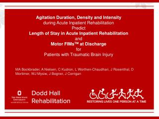 Agitation Duration, Density and Intensity during Acute Inpatient Rehabilitation Predict