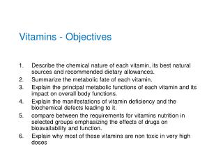 Vitamins - Objectives