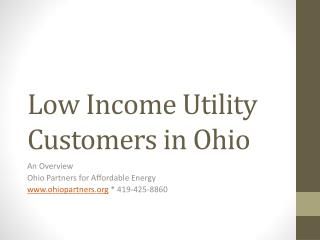 Low Income Utility Customers in Ohio