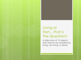 Living or Non…that is the Question!!