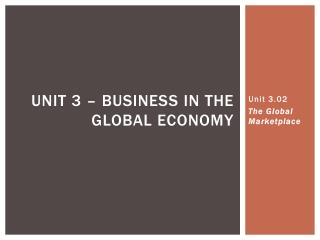 Unit 3.02 The Global Marketplace
