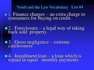 Youth and the Law Vocabulary