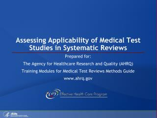 Assessing Applicability of Medical Test Studies in Systematic Reviews
