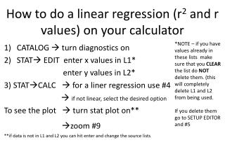 How to do a linear regression (r 2 and r values) on your calculator