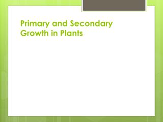 Primary and Secondary Growth in Plants