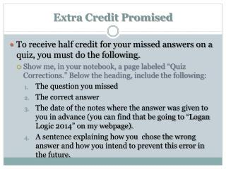Extra Credit Promised