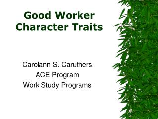 Good Worker Character Traits