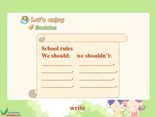 School rules We should: we shouldn't: __________ ___________. __________. ____________.
