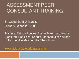Assessment Peer Consultant Training