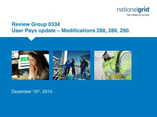 Review Group 0334 User Pays update – Modifications 288, 289, 290.