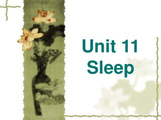 Unit 11    Sleep