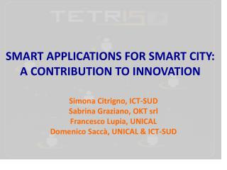 SMART APPLICATIONS FOR SMART CITY:  A  CONTRIBUTION TO INNOVATION