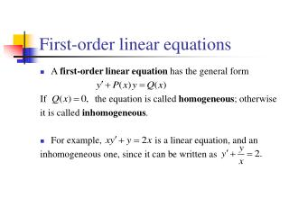 First-order linear equations