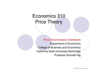 Economics 310 Price Theory