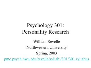 Psychology 301:  Personality Research