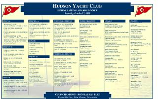 HUDSON YACHT CLUB SENIOR SAILING AWARDS DINNER Saturday, October 25, 2008