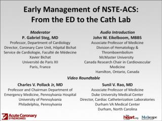 Early Management of NSTE-ACS: From the ED to the Cath Lab