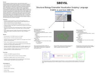 SBEVSL Structural Biology Extensible Visualization Scripting Language PyMOL to and from SBEVSL