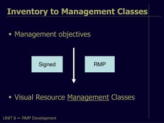 Management objectives Visual Resource  Management  Classes