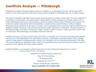 Conflicts Analyst — Pittsburgh