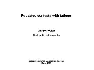 Repeated contests with fatigue