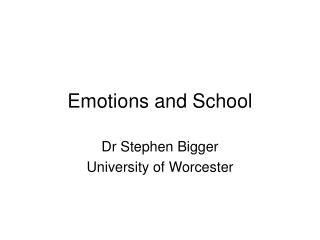 Emotions and School