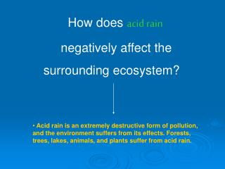 How does  acid rain            negatively affect the         surrounding ecosystem?