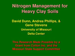 Nitrogen Management for Heavy Clay Soils
