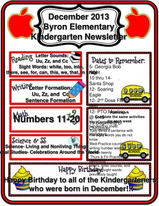 December 2013 Byron Elementary Kindergarten Newsletter