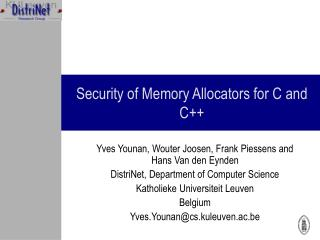 Security of Memory Allocators for C and C++