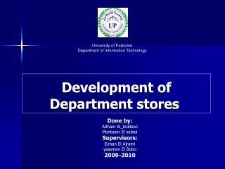 Development of Department stores