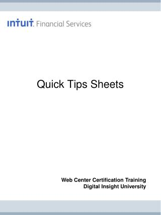 Quick Tips Sheets