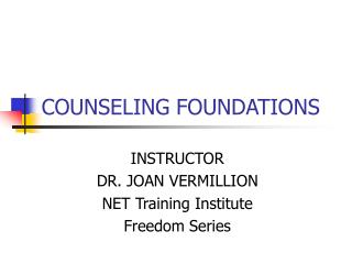 COUNSELING FOUNDATIONS