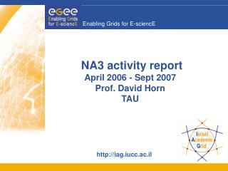 NA3 activity report April 2006 - Sept 2007 Prof. David Horn TAU