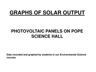 GRAPHS OF SOLAR OUTPUT  PHOTOVOLTAIC PANELS ON POPE SCIENCE HALL